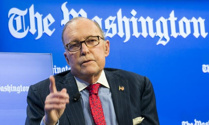 "Larry Kudlow, Director of the U.S. National Economic Council speaks at the Washington Post ""The State of Small Business"" event in Washington on Nov. 1, 2018 (Kris Tripplaar for The Washington Post)"